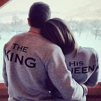 Свитшот серый | Кофта The King His Queen logo