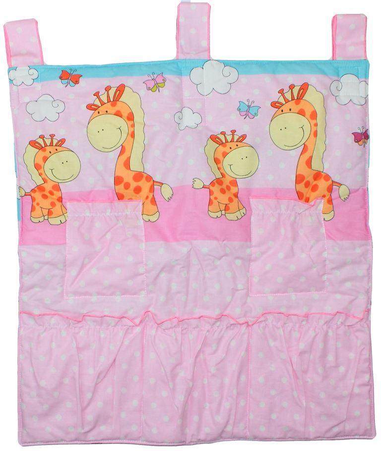 Карман в детскую кроватку для памперсов и бутылочек 70х60 см Жирафики розовый