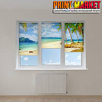 Рулонные шторы с фотопечатью море и пальмы 3д