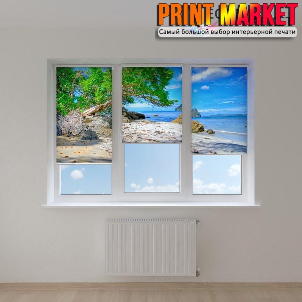 Рулонные шторы с фотопечатью камни на пляже 3д