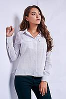 Стильная офисная блуза белого цвета в мелкий горох
