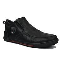Ботинки мужские искусственная кожа зимние  черные размеры 40-45