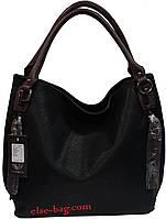 Черная  полукруглая  женская сумочка