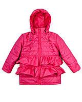 Детская куртка на девочку весна - осень«Рюша», 1 - 5 лет,малиновая