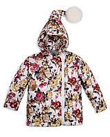 Детская куртка на девочку весна - осень«Гномик», 1 - 5 лет,цветы