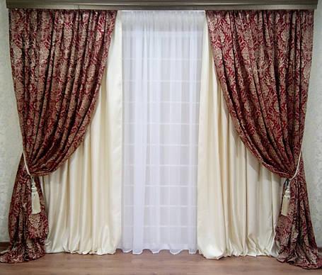 """Комплект штор """"Жан Бордо Люкс"""", 4 шторы, фото 2"""