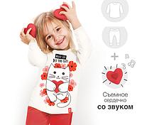 """Пижама детская с мурчащим котиком """"Cat & flower"""""""