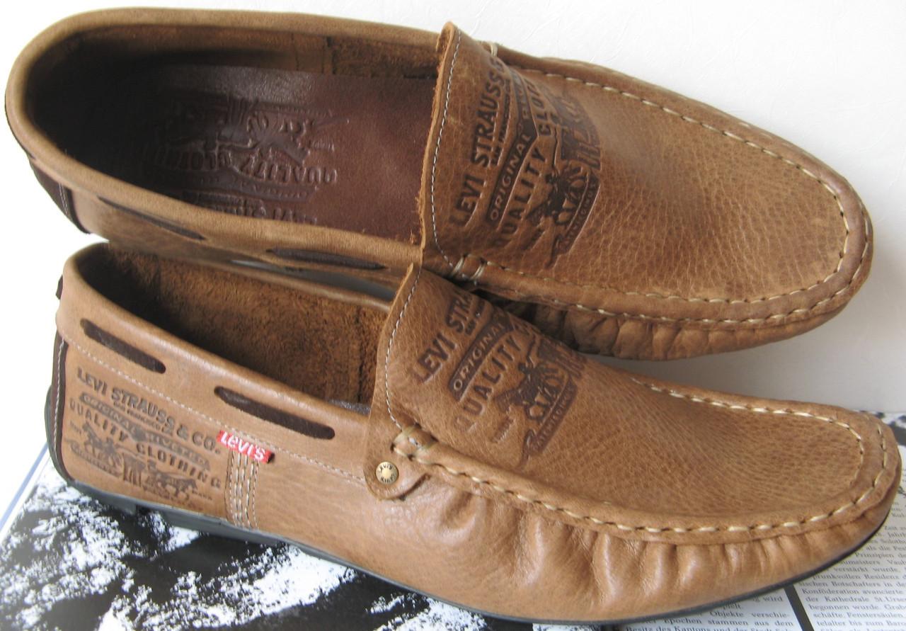 fe0aca118c07 Стильные коричневые кожаные мужские мокасины в стиле Levis весна лето осень  туфли - LIMODA.COM