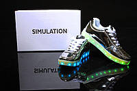 LED кроссовки Simulation Серебро, 11 режимов подсветки, шнурок, размер 35-41