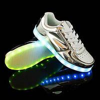 LED кроссовки Серебро, 11 режимов подсветки, шнурок, размер 36-40