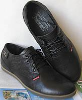 Стильные весенние кожаные туфли мужски Levis черного цвета