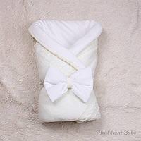 """Вязаный демисезонный конверт-одеяло """"Глория"""" молочный, фото 1"""