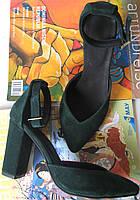 Классические туфли - босоножки красивого изумрудного цвета женская стильная обувь Mante!