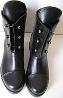 Кожаные женские зимние ботинки с болтами черного цвета обувь кэжл, фото 1
