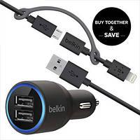 Belkin универсальный USB автомобильный адаптер 4.2A + USB кабель Iphone + Android
