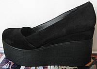 Casta! Стильные женские черные туфли на платформе замш кожа танкетка обувь