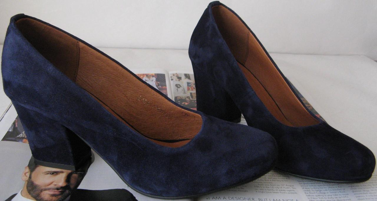 Nona! женские качественные классические туфли замшевые синие взуття на каблуке  7 fc8c5dffb4977