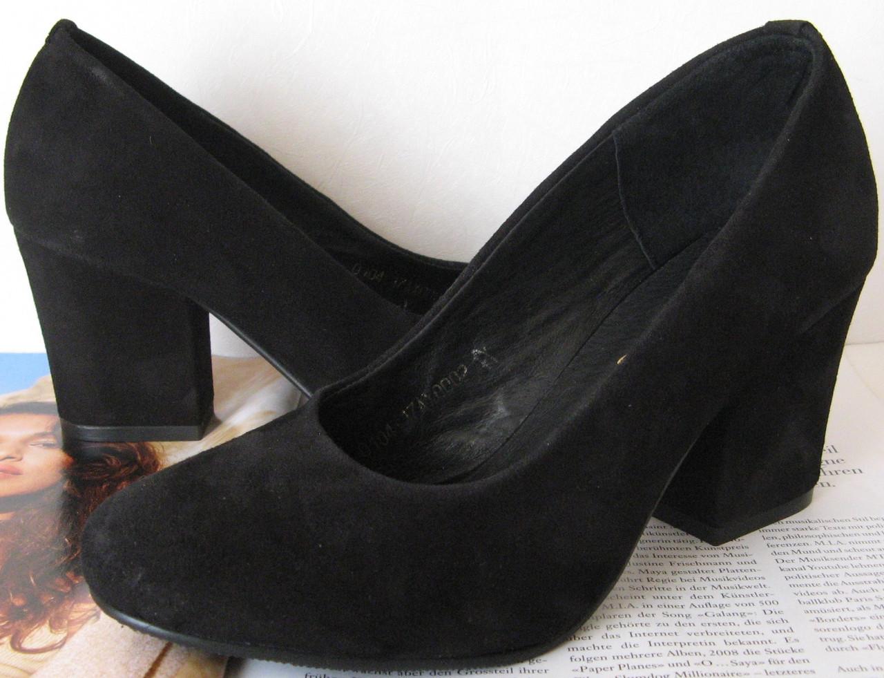 Nona! женские качественные классические туфли замшевые черные взуття на каблуке  7 98c1a72195e92