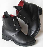 Красивые кожаные женские ботинки черные с красным обувь осень весна сапоги марсала копия Hermess