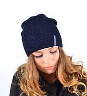 Молодежная красивая женская полушерстяная шапка