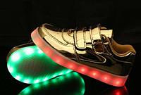 Gold Step Kids, Золотистые светящиеся кроссовки LED (USB подзарядка), размер 32 (LK 1012)