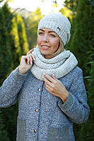 Комплект шапка и шарф хомут шерстяной серый