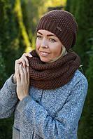 Комплект шапка и шарф хомут шерстяной коричневый
