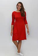 Романтическое красное женское платье с пуговицами по спинке  размер 34, 36, 38, 40, 42.