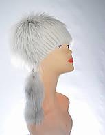 Шапка женская парик, норка и чернобурка артик