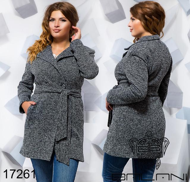 9547dc982b51 Пальто демисезонное женское букле большого размера недорого в  интернет-магазине ...