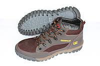 Зимние спортивные ботинки на меху коричневые, Б14глянец