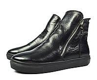Стильные черные женские осенние кожаные слипоны Gino Figini для повседневной носки ( новинка весна, осень )