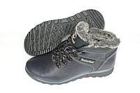 Зимние кожаные ботинки мужские, цвет синий, Б11
