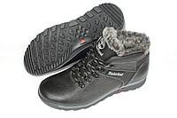 Зимние кожаные ботинки мужские, цвет черный, Б11