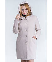 Пальто зимнее с капюшоном №17 бежевый р. 42-48