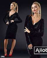 Чёрное вечернее платье с декольте - 17051