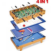 Детская настольная игра 4 в 1 Футбол+Аэрохоккей+Пинпонг+Бильярд