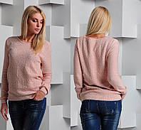 Женский свитер с ажурным рисунком украшенный стразами. Ткань:шерсть с акрилом. Размер: 42-46