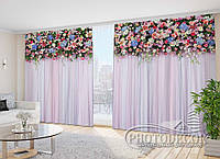 "Фото Шторы в зал ""Ламбрекен из цветов. Фантазия"" 2,7м*2,9м (2 половинки по 1,45м), тесьма"
