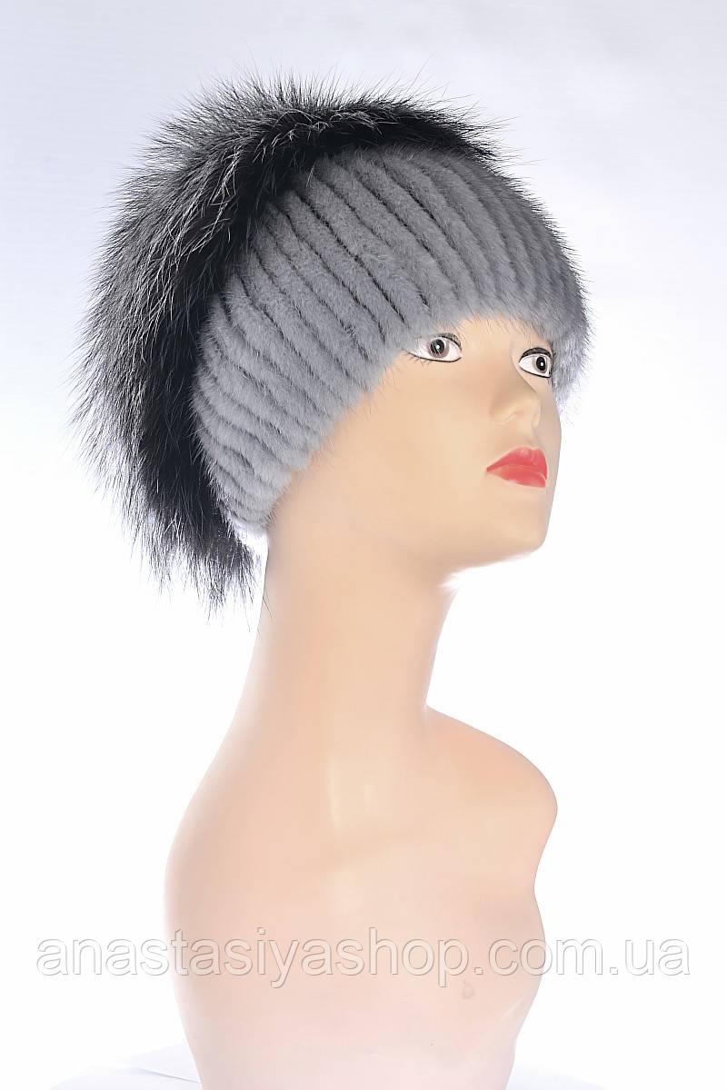 Шапка женская капля, норка и чернобурка