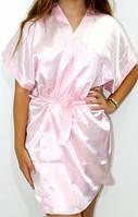 Атласный женский халатик кимоно. Красивые атласные халаты на запах с поясом. Ассортимент цветов и размеров.