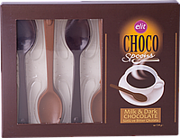 Шоколадные ложки Elit Choco Spoons Milk & Dark, 54 г.