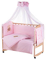 Детская постель Qvatro Gold AG-08 аппликация  розовый (мишка сидит с коричневым сердцем), фото 1