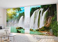"""Фото Шторы в зал """"Водопад на солнце"""" 2,7м*2,9м (2 полотна по 1,45м), тесьма, фото 1"""