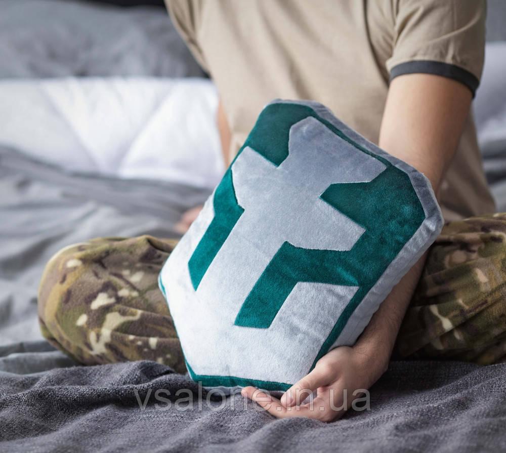 Декоративная подушка, лого игры «World of Warships» серо-зеленая