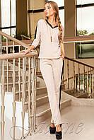 Стильный объёмный костюм с модными лампасами Саржа