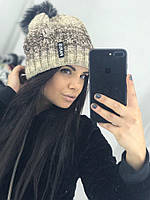 Женская оригинальная и теплая вязаная шапка с меховым бубоном 82e55a90da058
