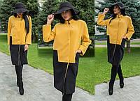 Пальто норма  кашемир на подкладке Мод 254 (AMBR)