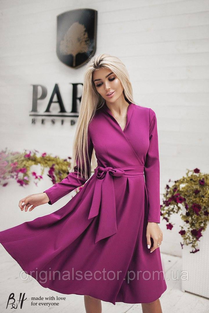 ffcbd6608c9 Женское платье на запах с длинным рукавом и длиной ниже колен -  интернет-магазин