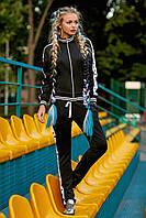 Черный молодежный спортивный костюм с принтом р.S